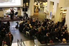 """Marronage: Modlæsninger, Tess S. Thorsen: """"Kan kolonialisme spores i dansk film?"""", Hovedbiblioteket, marts 2017. Foto: Kbh læser."""